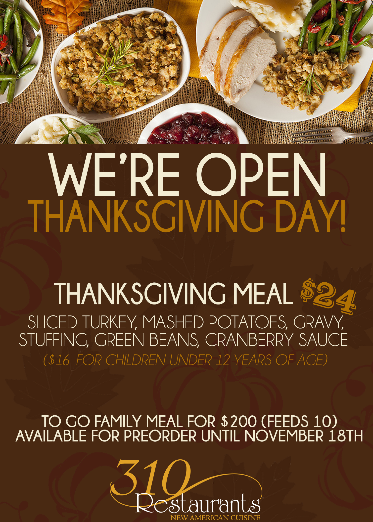 Thanksgiving At 310 Restaurants 310 Park South 310